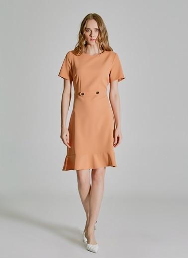 People By Fabrika Volan ve Düğme Detaylı Elbise Somon